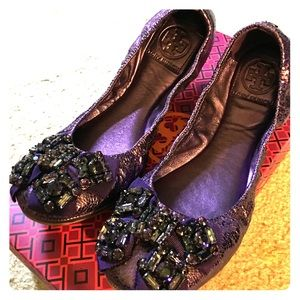 Tory Burch embellished purple flats